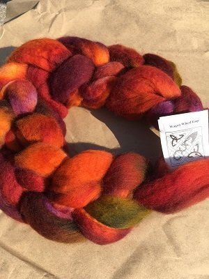 Hand dyed wool combed top (or roving)