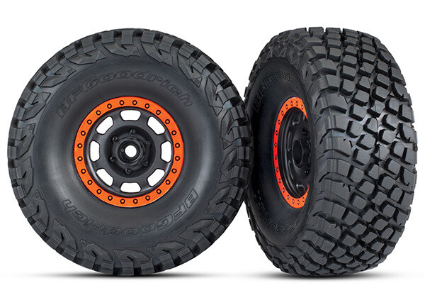 Tires & Wheels, Assembled, Glued (Desert Racer Wheels, Black with Orange Beadlock, BFGoodrich® Baja KR3 Tires) (2)