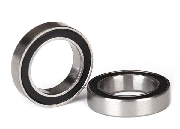 Ball Bearing, Black Rubber Seal (12x18x4mm) (2)