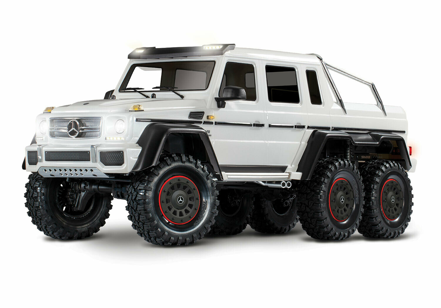 Traxxas TRX-6 Gloss White Metallic Mercedes-Benz G 63 AMG 6x6 (XL-5HV, TQi, LED Lights) (Wireless Module/3S 5000mAh LiPo Battery/Live iD Charger/Phone Mount) - Special Edition