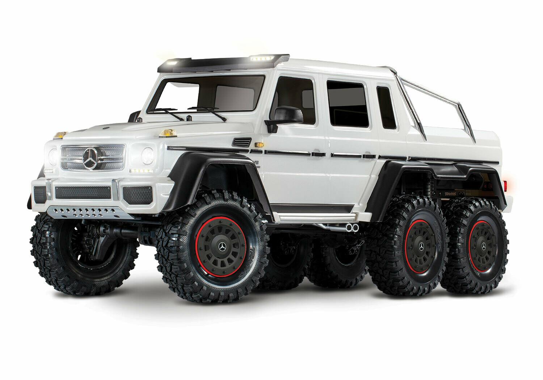 Traxxas TRX-6 Gloss White Metallic Mercedes-Benz G 63 AMG 6x6 (XL-5HV, TQi, LED Lights) (Wireless Module/3S 5000mAh LiPo Battery/Dual iD Charger/Phone Mount) - Special Edition