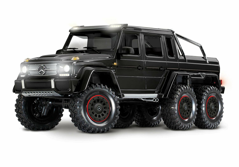 Traxxas TRX-6 Gloss Black Metallic Mercedes-Benz G 63 AMG 6x6 (XL-5HV, TQi, LED Lights) (Wireless Module/3S 5000mAh LiPo Battery/Live iD Charger/Phone Mount)