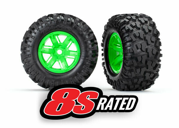 Tires & Wheels, Assembled, Glued (X-Maxx® Green Wheels, Maxx® AT Tires, Foam Inserts) (Left & Right) (2)