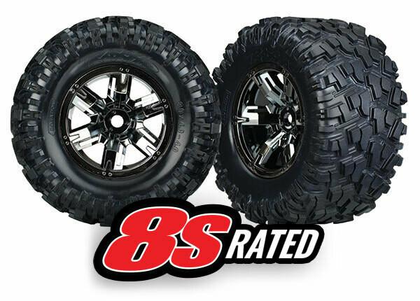 Tires & Wheels, Assembled, Glued (X-Maxx® Black Chrome Wheels, Maxx® AT Tires, Foam Inserts) (Left & Right) (2)