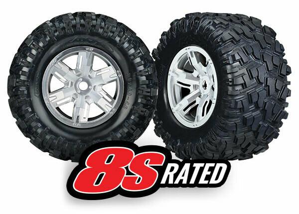 Tires & Wheels, Assembled, Glued (X-Maxx® Satin Chrome Wheels, Maxx® AT Tires, Foam Inserts) (Left & Right) (2)