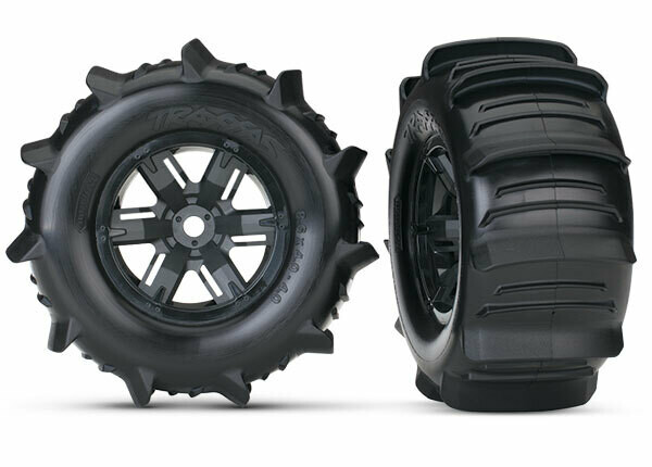 Tires & Wheels, Assembled, Glued (X-Maxx® Black Wheels, Paddle Tires, Foam Inserts) (Left & Right) (2)