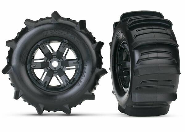 Tires & Wheels, Assembled, Glued (X-Maxx® Black Wheels, Paddle Tires, Foam Inserts) (Left & Right) (2)