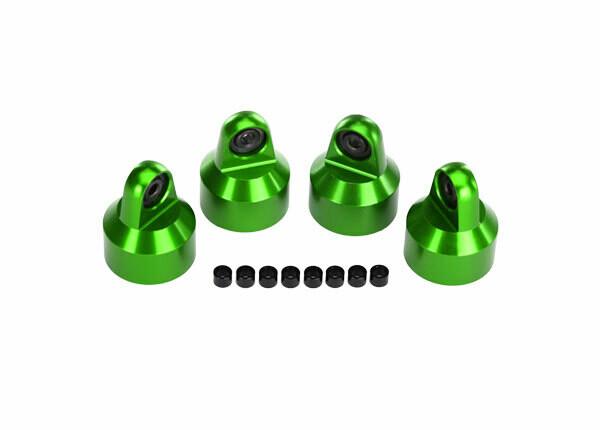 Shock Caps, Aluminum (Green-Anodized), GTX Shocks (4)/ Spacers (8)