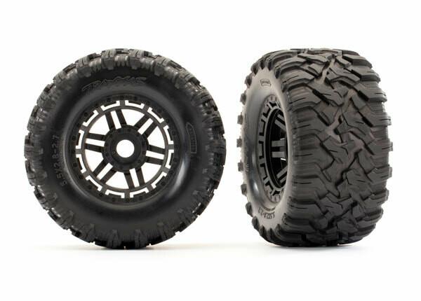 Tyres & Wheels, Assembled, Glued (Black Wheels, Maxx All-Terrain Tyres, Foam Inserts) (2pcs) (17mm Splined) (TSM Rated)