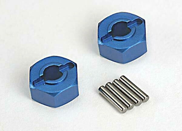 Wheel Hubs, Hex (Blue-Anodized, Lightweight Aluminum) (2)/ Axle Pins(4)