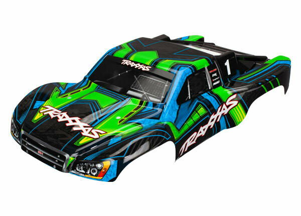 Body, Slash 4X4, Green and Blue (Painted, Decals Applied)