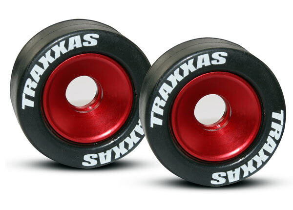 Wheels, Aluminum (Red-Anodized) (2)/ 5x8mm Ball Bearings (4)/ Axles (2)/ Rubber Tires (2)