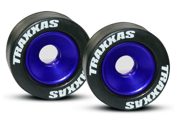 Wheels, Aluminum (Blue-Anodized) (2)/ 5x8mm Ball Bearings (4)/ Axles (2)/ Rubber Tires (2)