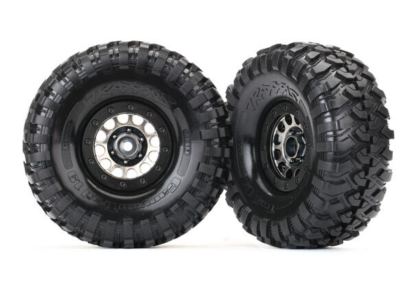 """Tires and Wheels, Assembled (Method 105 1.9"""" Black Chrome Beadlock Wheels, Canyon Trail 4.6x1.9"""" Tires, Foam Inserts) (1 Left, 1 Right)"""