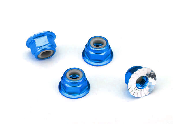 Nuts, Aluminum, Flanged, Serrated (4mm) (Blue-Anodized) (4)