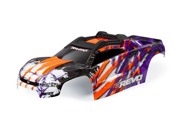 Body, E-Revo, Purple/ Window, Grille, Lights Decal Sheet (Assembled With Front & Rear Body Mounts And Rear Body Support For Clipless Mounting)
