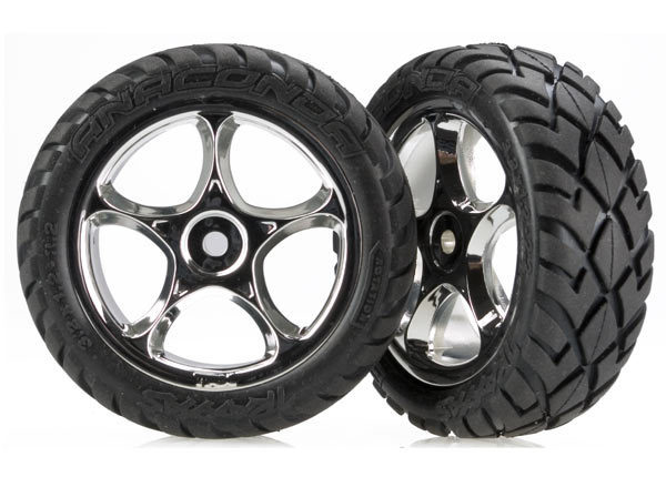 "Tires & wheels, assembled (Tracer 2.2"" chrome wheels, Anaconda 2.2"" tires with foam inserts) (2) (Bandit front)"