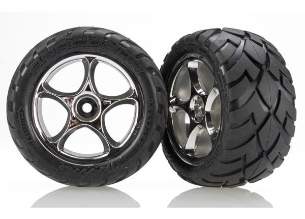 """Tires & wheels, assembled (Tracer 2.2"""" chrome wheels, Anaconda 2.2"""" tires with foam inserts) (2) (Bandit rear)"""