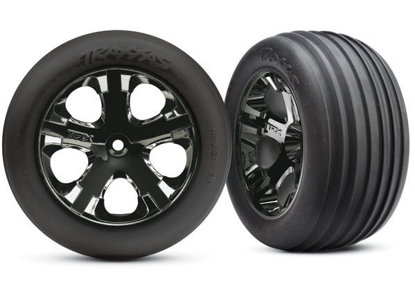 "Tires & wheels, assembled, glued (2.8"") (All-Star black chrome wheels, Ribbed tires, foam inserts) Electric Front (2) TSM Rated"