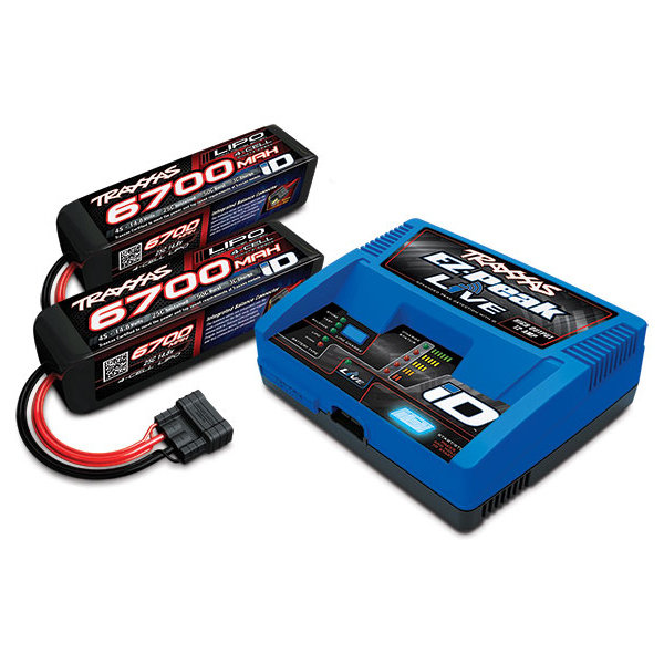 Traxxas EZ-Peak Live, 100W, NiMH/LiPo Bluetooth ID Charger w/2x4S 6700mAh LiPo (2890X)