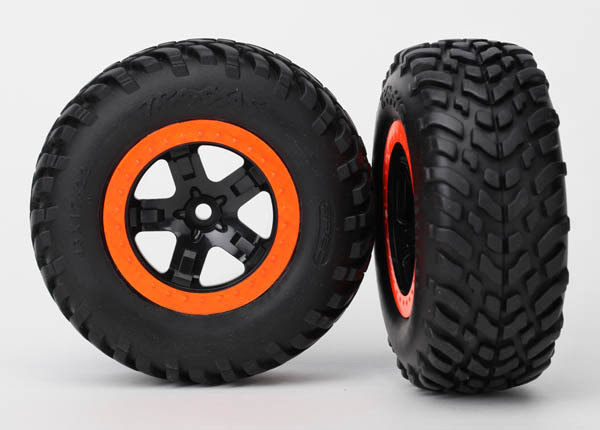 "Tires & Wheels, Assembled, Glued (SCT Black, Orange Beadlock Wheels, Dual Profile (2.2"" Outer, 3.0"" Inner), SCT Off-Road Racing Tire, Foam Inserts) (2) (4WD F/R, 2WD Rear) (TSM Rated)"