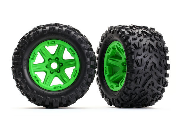 ERevo Tires & Wheels, Assembled (Green, Talon EXT Tires) (2) (17mm)