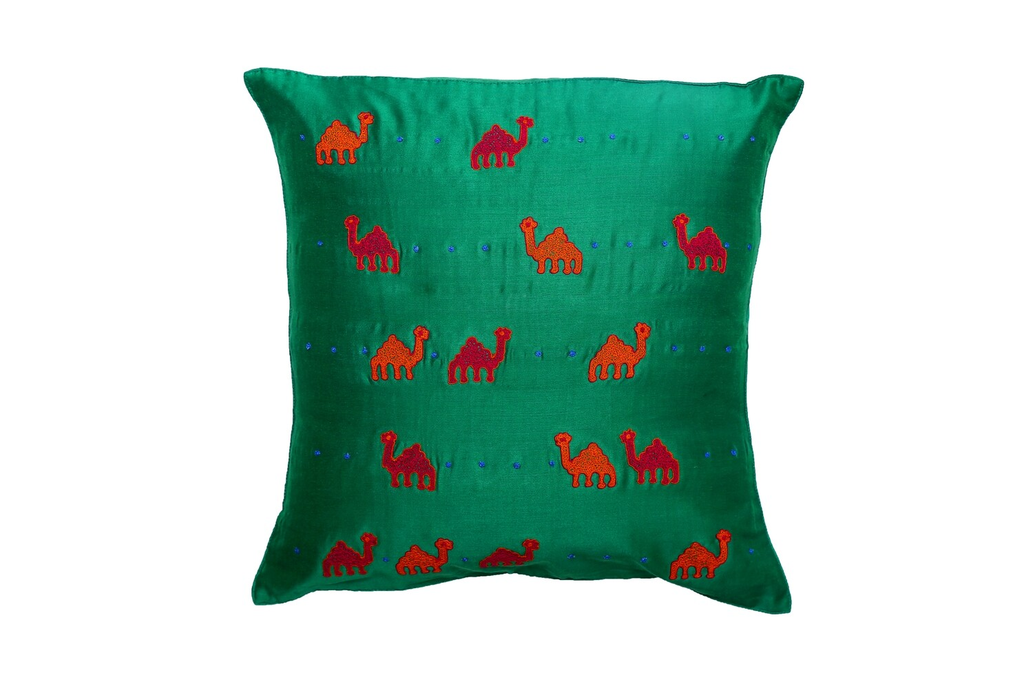 Camel Embroidered Silk Cushion Cover