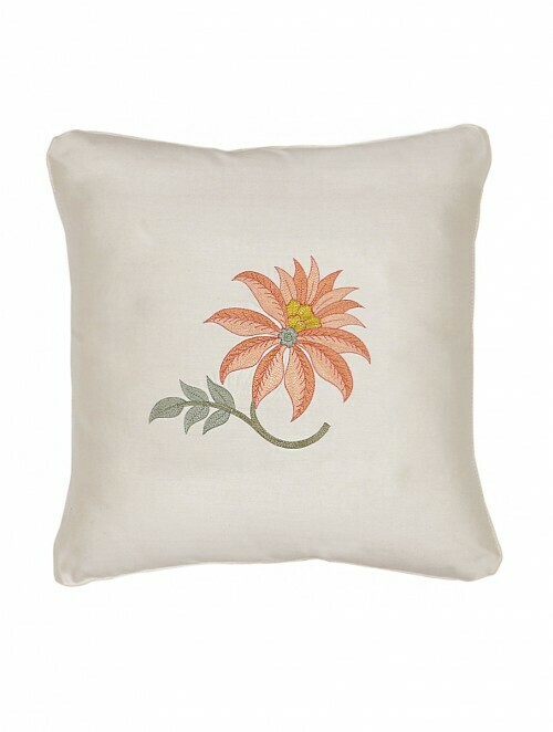 Floral Embroidered Silk Cushion Cover