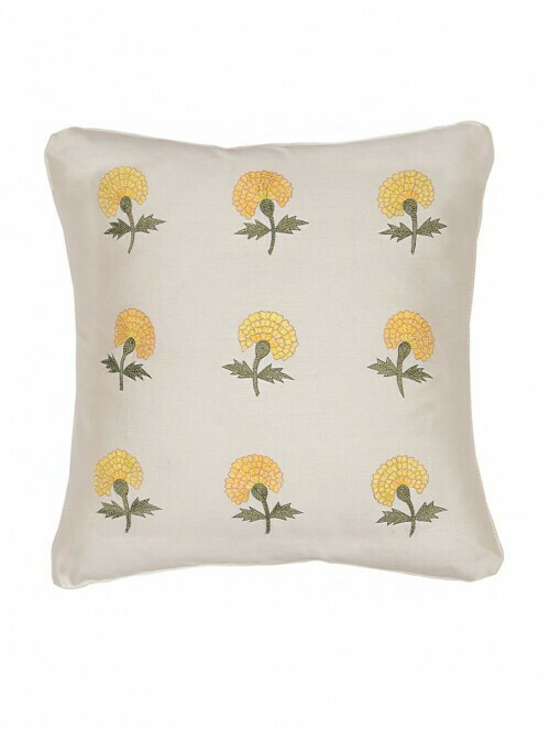 Marigold Embroidered Silk Cushion Cover