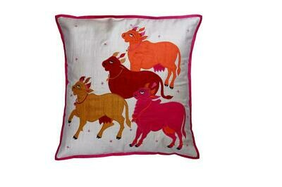 Nandi Embroidered Patchwork Silk Cushion Cover