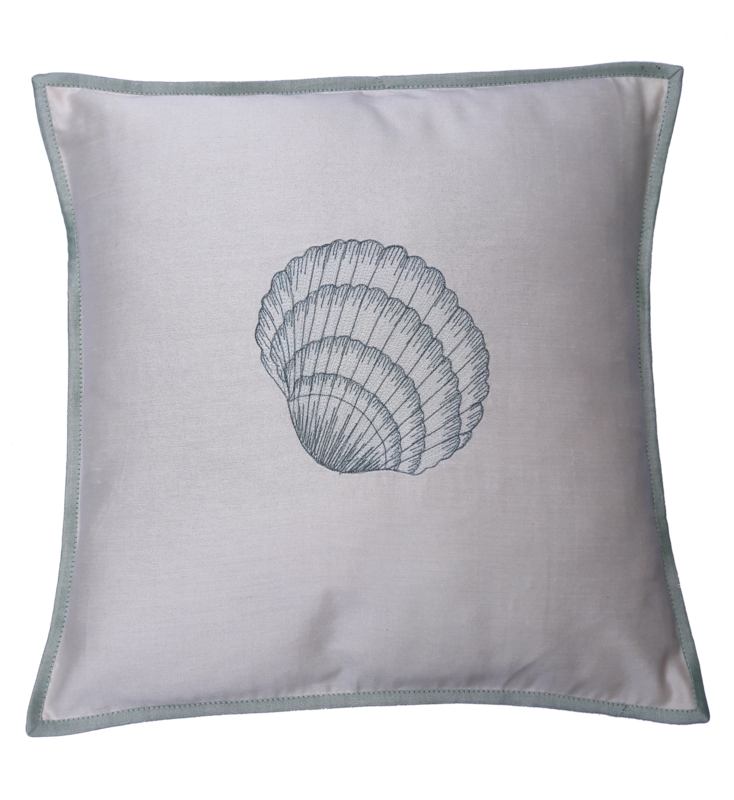 Nautical Embroidered Silk Cushion Cover