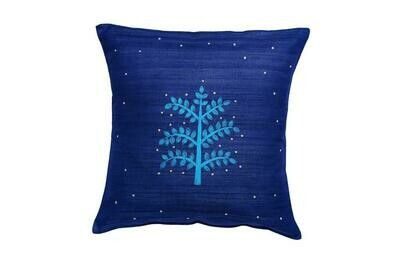 Neem Tree Embroidered Silk Cushion Cover