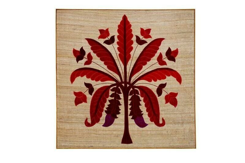 Banana Tree Silk Embroidered Patchwork Wall Art