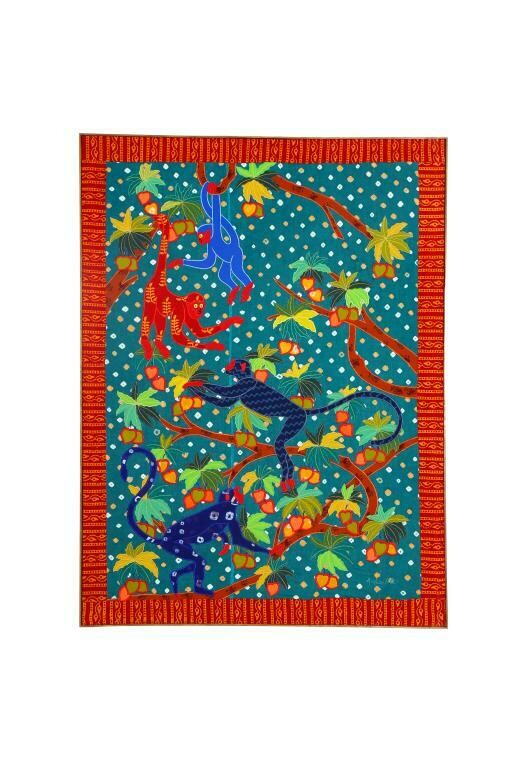 Monkey Forest Silk Patchwork Embroidered Wall Art