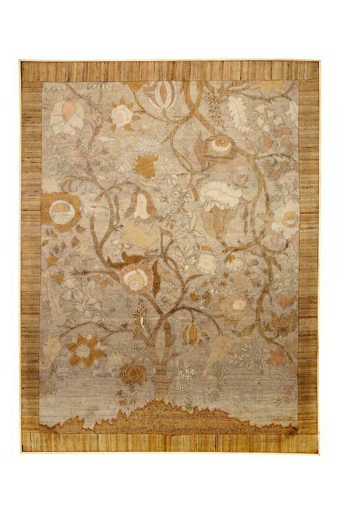 Tree of Life Silk Patchwork Embroidered Wall Art