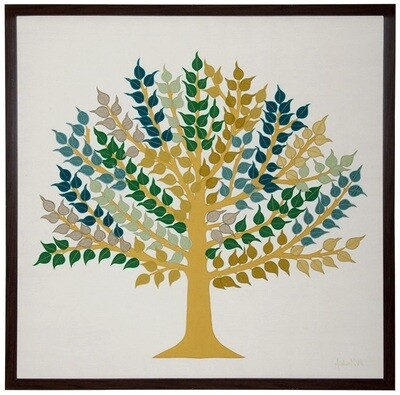 Peepul Tree Silk Embroidered Patchwork Wall Art