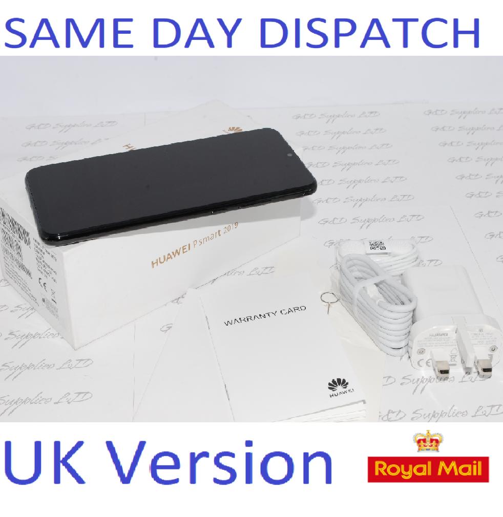 "NEW Huawei P Smart 2019 P0T-LX1 6.21"" Smartphone 3GB RAM 64GB unlocked Black UK Version"