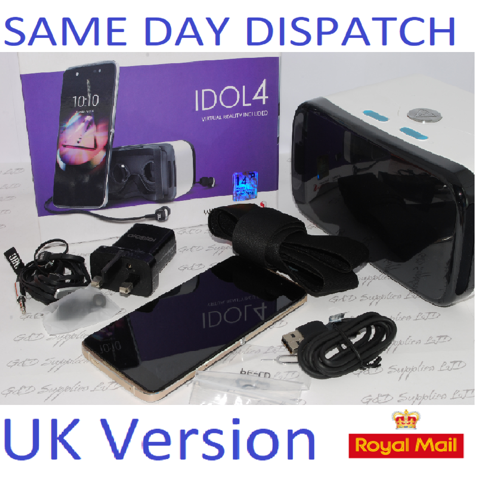 ALCATEL IDOL 4 6055P GOLD 16GB 4G UNLOCKED Smartphone With VR HEADSET UK STOCK #