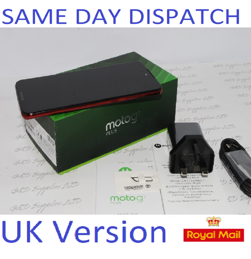 NEW MOTOROLA G7 Plus  64GB XT195-3 RED  4GB RAM Unlocked Single Sim UK version