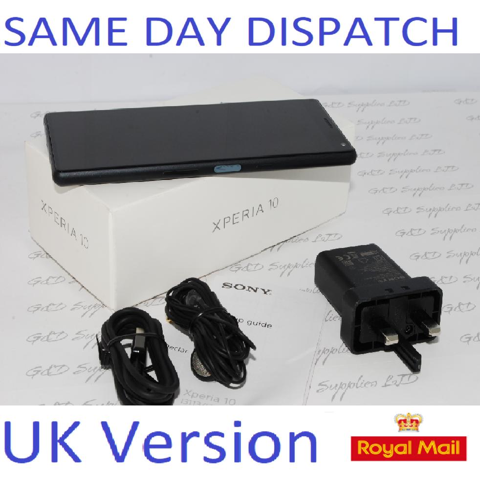 "Sony Xperia 10 Black 6.0"" 64GB 4G LTE Android 9.0 Sim Free Unlocked UK Stock #"