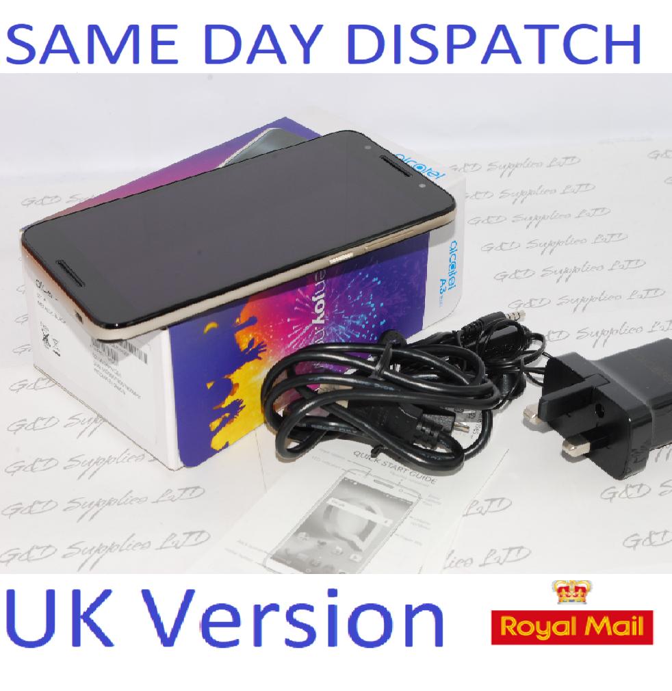 "Alcatel A3 Plus Metallic Black Sim Free 3G 5.5"" FP Sensor Android Unlocked 3G  UK STOCK #"