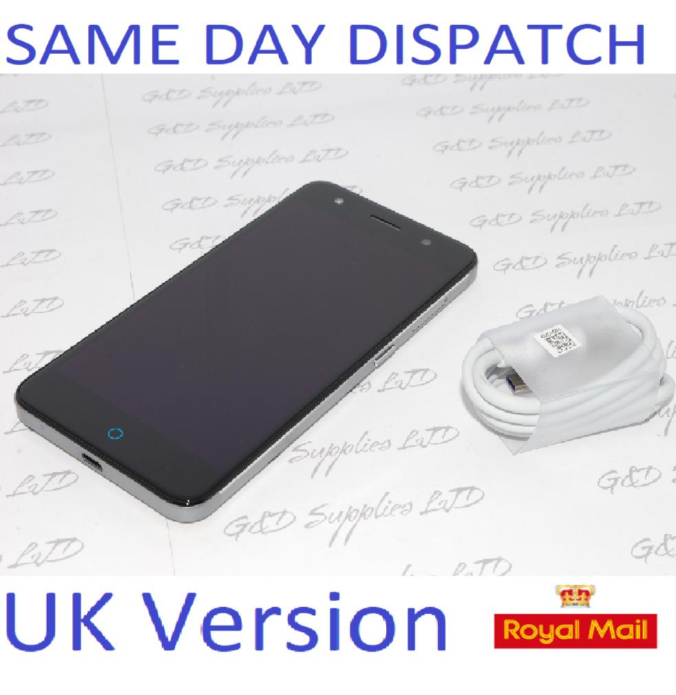 "ZTE BLADE V7 Lite 16GB BLACK GRAY 4G UNLOCKED Fingerprint 5"" inch HD Smartphone NO BOX"