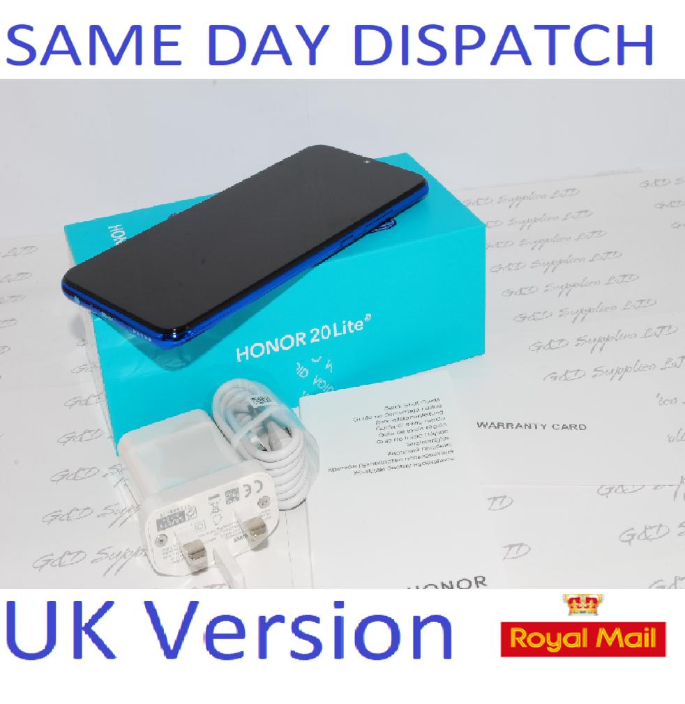 Huawei Honor 20 Lite Blue 128GB Dual Sim 4G Android  UNLOCKED NFC Sim UK version #