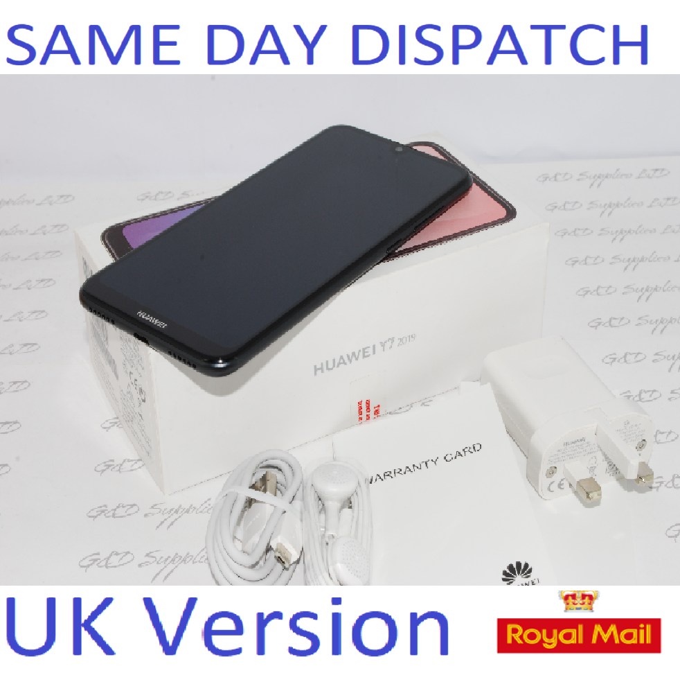 "Huawei Y7 2019 32GB DUB-LX1 UNLOCKED 3GB RAM 4G 6.26"" BLACK Single Sim UK STOCK"