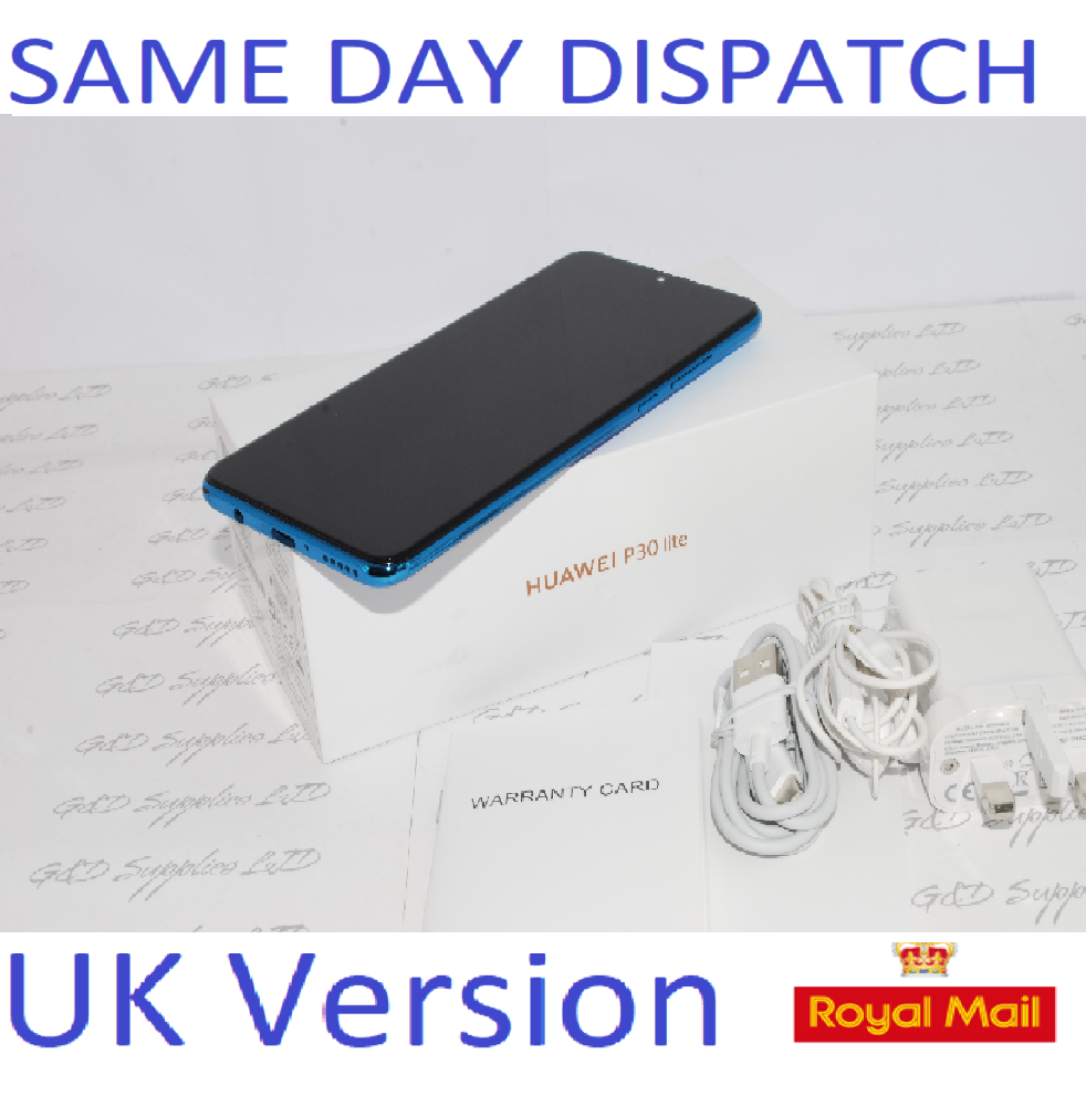 Huawei P30 Lite  4G Smartphone 4GB RAM 128GB Single Sim Blue UNLOCKED UK Version #