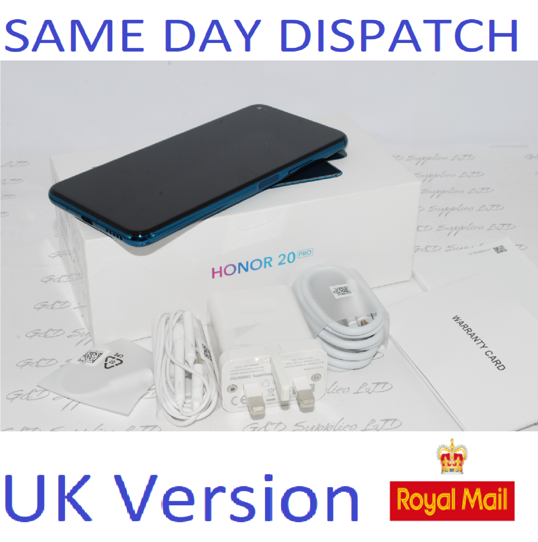 """Huawei Honor 20 Pro Phantom Blue 6.26"""" 256GB Dual Sim 8GB Android Sim Free  UK version #"""