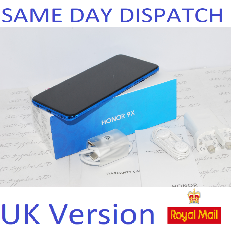 "Honor 9X Sapphire Blue 6.59"" 128GB 4G Unlocked Dual-SIM 4G Unlocked Huawei  UK version #"
