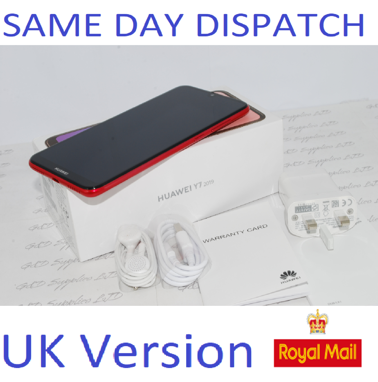 "NEW Huawei Y7 2019 32GB DUB-LX1 UNLOCKED 3GB RAM 4G 6.26"" Red Single Sim UK STOCK"
