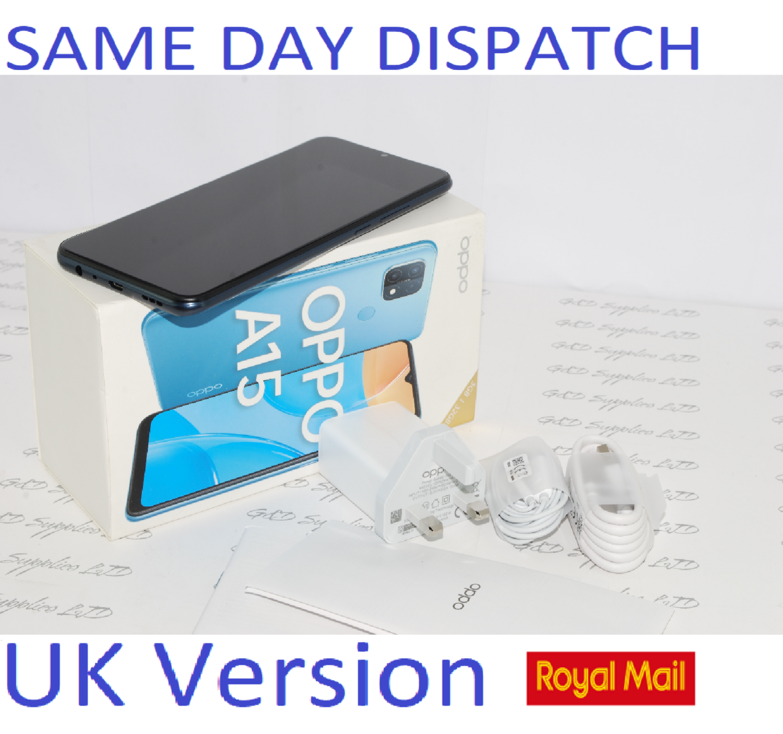 "OPPO A15 64GB SIM-free Smartphone 6.5"" HD LCD Touchscreen Dual Sim Unlocked Black UK version #"