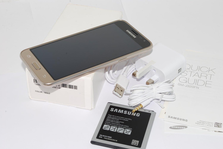 "Samsung Galaxy J3 2016 Gold Sim Free 5"" 8MP 5MP SM-J320FN UK STOCK"